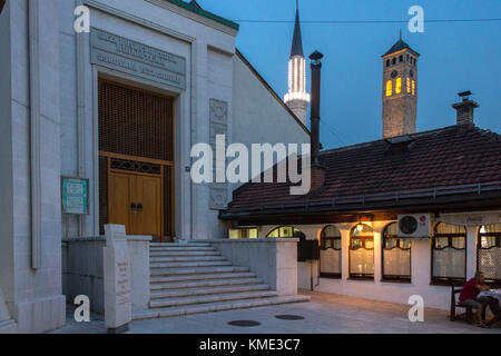 SARAJEVO,BOSNIA AND HERZEGOVINA - AUGUST 19 2017: View at sunset of the building of the Gazi Husrev begova library - Stock Photo