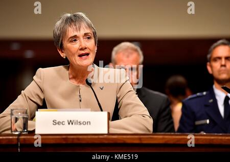 U.S. Air Force Secretary Heather Wilson testifies before the Senate Armed Services Committee during a hearing in - Stock Photo