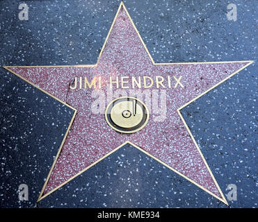 USA, HOLLYWOOD- AUGUST 23, 2013: Jimi Hendrix star on the road - Stock Photo