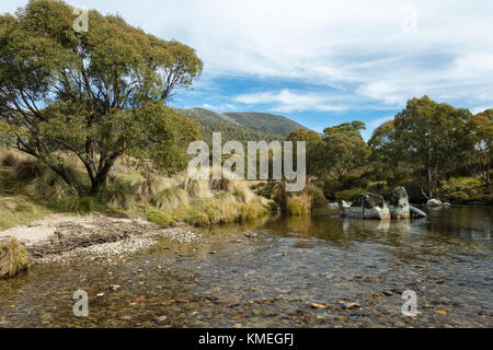 The Thredbo River at Thredbo Diggings in Kosciuszko National Park in the Snowy Mountains in southern New South Wales. - Stock Photo