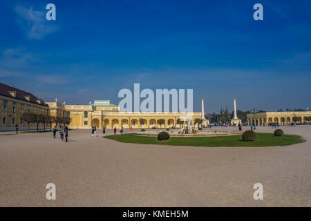 Surrounded area and gardens around the famous Schonbrunn Palace Vienna in Austria, Europe. - Stock Photo