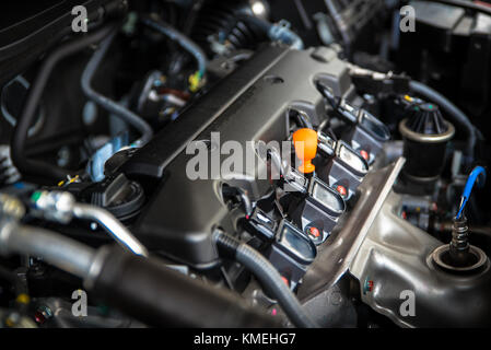 The powerful engine of a car. Internal design of engine with combustion and valve in dark tone - Stock Photo