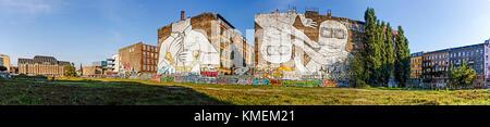 Panorama of Mural on firewall in Kreuzberg by italian artist Blu , Berlin, Germany - Stock Photo