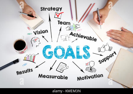 Goals Concept. Chart with keywords and icons. The meeting at the white office table - Stock Photo