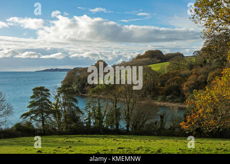 view of carrick roads and river fal near truro in cornwall, england, britain, uk. - Stock Photo