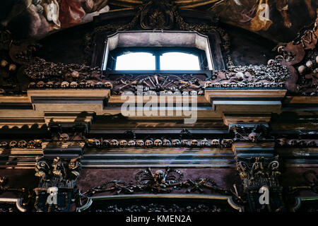 The evocative crypt of San Bernardino alle Ossa, Milan, Italy - Stock Photo