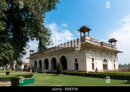 NEW DELHI, INDIA - MARCH 18, 2016: Horizontal picture of Rang Mahal, white building inside Red Fort, landmark of - Stock Photo