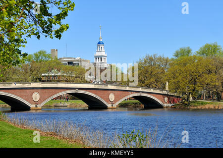 Brick footbridge and blue dome of Lowell House. Harvard University in Cambridge, Massachusetts. - Stock Photo