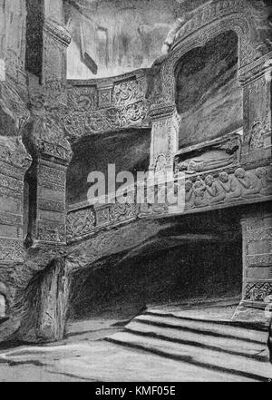 French Indochina Pavilion, Underground room of a Khmer temple, Universal Exhibition 1900 in Paris, Picture from - Stock Photo