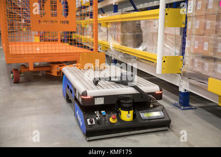 Romulus, Michigan - An automated guided vehicle can move parts at a Mopar auto parts distribution center. Mopar - Stock Photo
