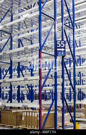 Romulus, Michigan - Empty shelves at a new Mopar auto parts distribution center. Mopar is the auto parts operation - Stock Photo