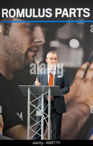 Romulus, Michigan - Pietro Gorlier, Head of Parts and Service for Fiat Chrysler Automobiles, speaks at the opening - Stock Photo