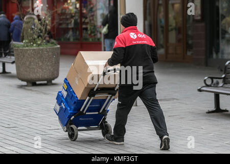 DPD Next day delivery services, business logistics, commercial goods being delivered in Blackpool, UK