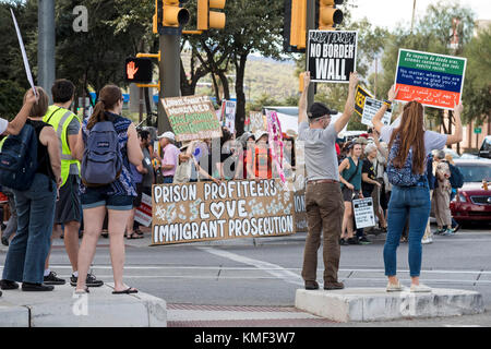 Tucson, Arizona - Hundreds joined a rally against Operation Steamline at the federal courthouse. The Department - Stock Photo