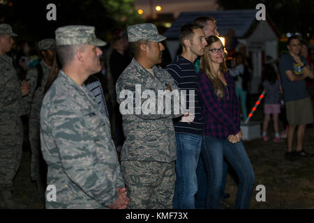 Members of the Joint Base San Antonio-Lackland community gather for the tree lighting ceremony at JBSA-Lackland - Stock Photo