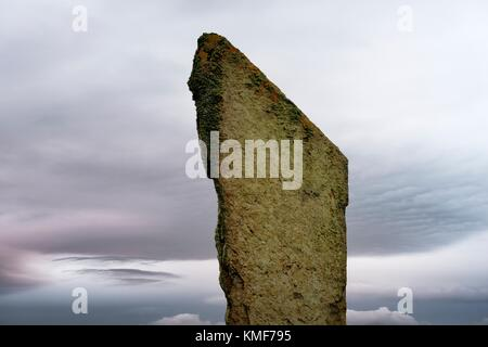 Standing Stones of Stenness, Orkney. 5m high prehistoric megalith of stone circle henge monument originally of up - Stock Photo