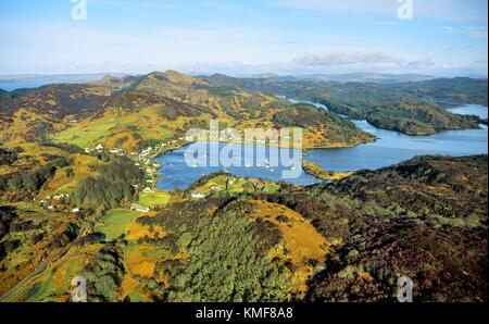 Aerial view north over the safe anchorage of Tayvallich on Loch Sween west of Lochgilphead, Argyll, Strathclyde, - Stock Photo