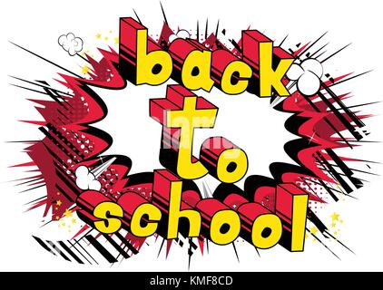 Back To School - Comic book style word on abstract background. - Stock Photo