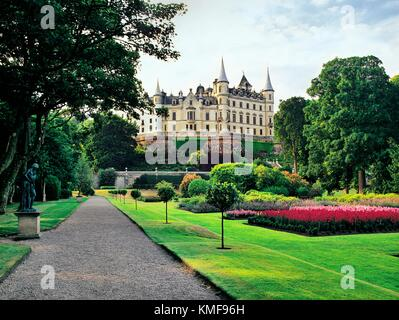 Dunrobin Castle, home of the Duke of Sutherland by architect Sir Charles Barry. Highland region, N.E. Scotland - Stock Photo