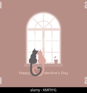 Two cats with heart shaped tails sitting on a windowsill in a room, cuddling each other and looking out a classic - Stock Photo