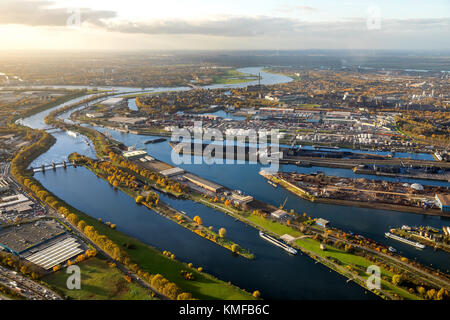 Duisport, view of the port, Rhine-Herne-Canal and Ruhr, Rhine, Ruhr estuary, Duisburg, Ruhr area, North Rhine-Westphalia - Stock Photo