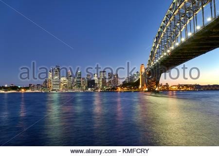 Sydney Harbour Bridge and the skyline of Sydney, Australia - Stock Photo