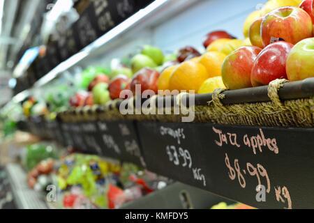 Fresh fruit and other goods in Ottos arcade, Townsville, Queensland, Australia - Stock Photo