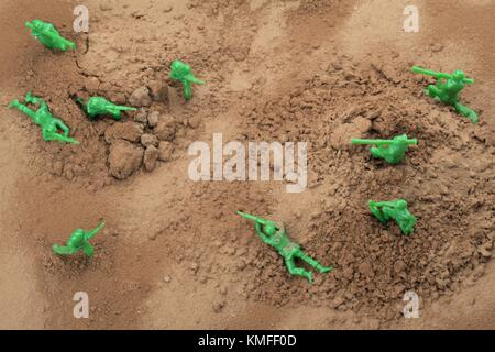top view fighting toy soldiers - Stock Photo