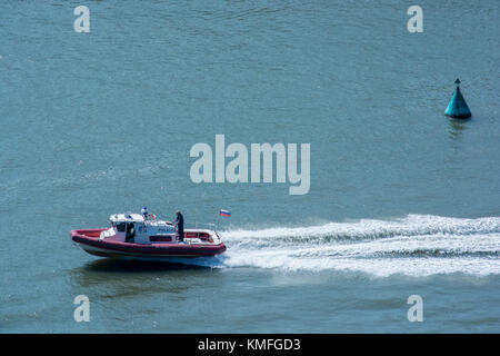 ROSTOV-ON-DON, RUSSIA - CIRCA SEPTEMBER 2017: Russian emergency situation ministry boat - Stock Photo