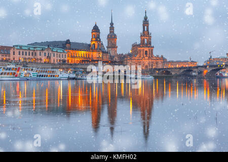 Old Town and Elba at night in Dresden, Germany - Stock Photo