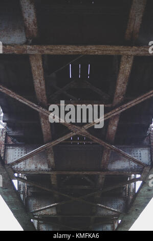 railway bridge. Bottom view. Industrial mood. - Stock Photo