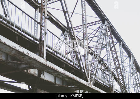 Railway bridge constructions from the bottom. - Stock Photo
