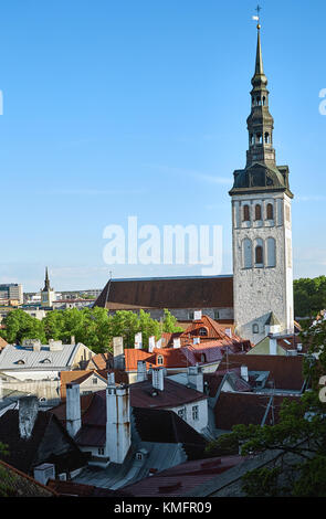 View of the old city of Tallinn from above on a clear, sunny summer day - Stock Photo