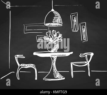 The sketch the room on the chalkboard.. Design a table and two chairs in the corner of the room. - Stock Photo