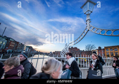 Ha'penny Bridge, Dublin, Ireland - Stock Photo