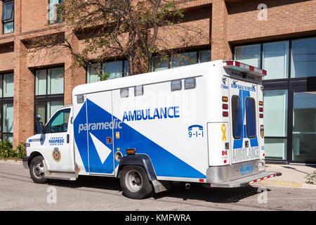 Toronto, Canada - Oct 19, 2017: Paramedic ambulance services vehicle in the city of Toronto, Canada - Stock Photo