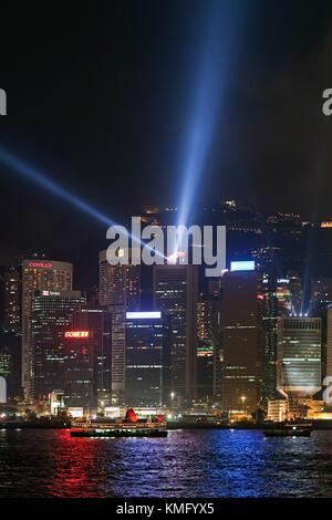 Laser show, Victoria Harbour, Hong Kong, SAR, China - Stock Photo