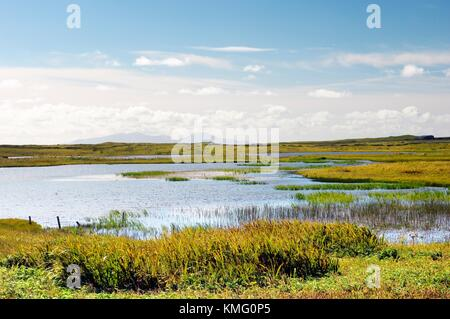 North Uist, Outer Hebrides, Scotland. South over reed pools of Loch nam Feithean at Hougharry on the islands west - Stock Photo