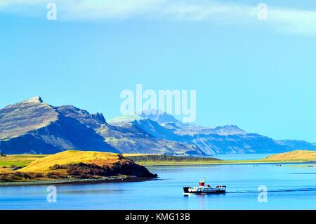 Isle of Skye, Inner Hebrides, Scotland. Ferry from Raasay entering Loch Sligachan. Looking northwest to the Trotternish - Stock Photo