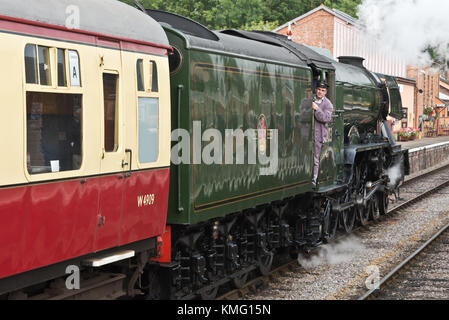 60103 Flying Scotsman steam locomotive arriving at Bishops Lydeard Station on the West Someraset Railway (WSR) during - Stock Photo