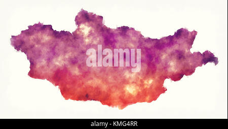 Mongolia watercolor map in front of a white background - Stock Photo