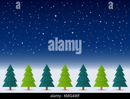 Vector Christmas winter background. Night sky, snow, stars with abstract conifers with snow in a row. - Stock Photo