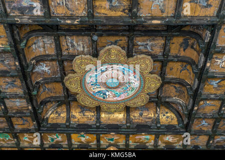 Kencho-ji temple Butsuden Hall. Momoyama period style Ceiling ornaments. Japan Important Cultural property. Kamakura, - Stock Photo
