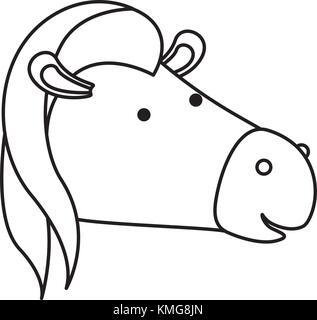 horse cartoon head in monochrome silhouette - Stock Photo
