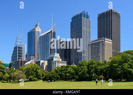 Royal Botanic Garden Sydney, with high-rise buildings in the Central Business District in the background - Sydney, - Stock Photo
