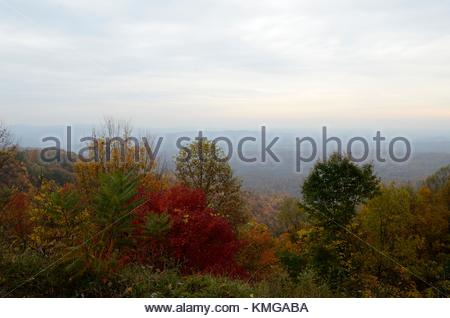 Scenic Overlook with fall foliage on a cloudy morning - Route 99 west of Beckley West Virginia is known for its - Stock Photo