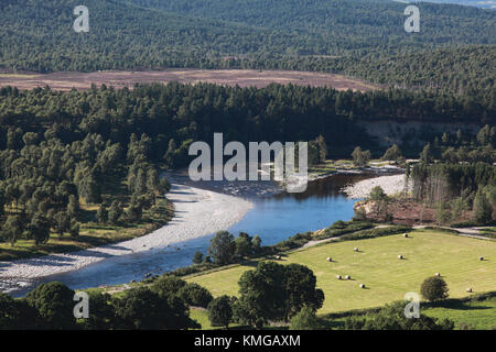 The Dee between Ballater and Aboyne showing a new course taken by the river after Storm Frank - Stock Photo
