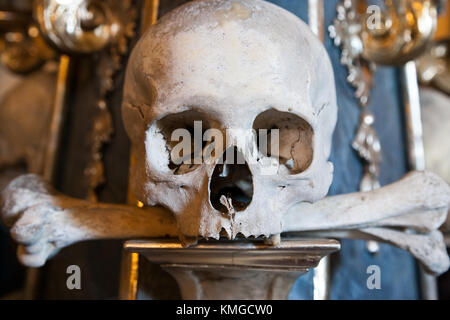 KUTNA HORA - SEDLEC, CZECH REPUBLIC - JULY 13 - Sedlec Ossuary- Human skulls and bones (UNESCO) on July 13, 2014 - Stock Photo