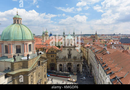 Prague CityScape as seen from Old Town Bridge Tower,Prague,Czeck Republich 2017 July - Stock Photo