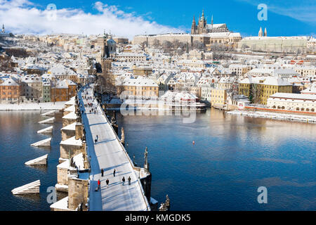 Prague castle, Lesser town and Charles bridge, Prague (UNESCO), Czech republic in winter with snow  at christmas - Stock Photo